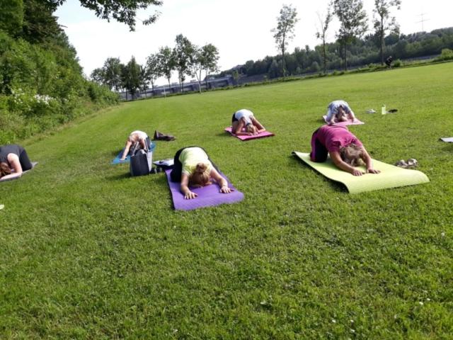 Yoga-Einheit in der Natur am Inn